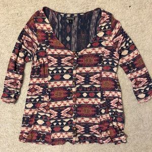 Multi color tribal print blouse